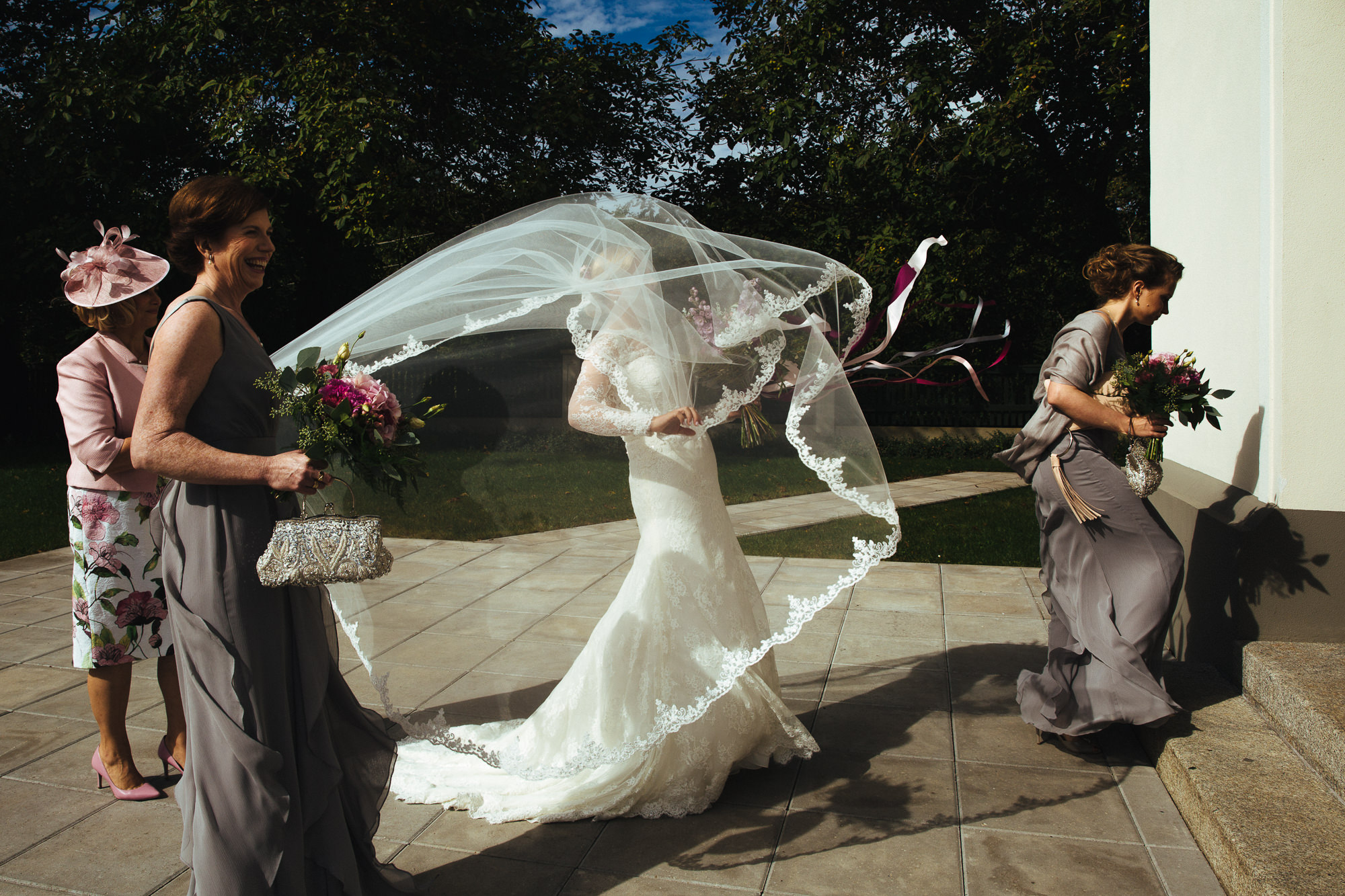 the bride's veil in the wind