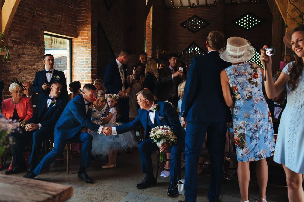 wedding ceremony at shustoke barn