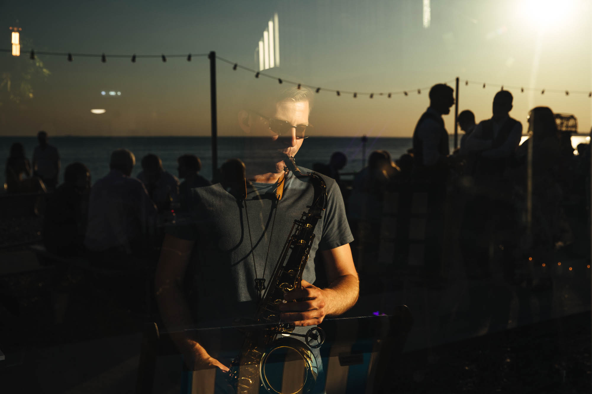 saxophone beach wedding
