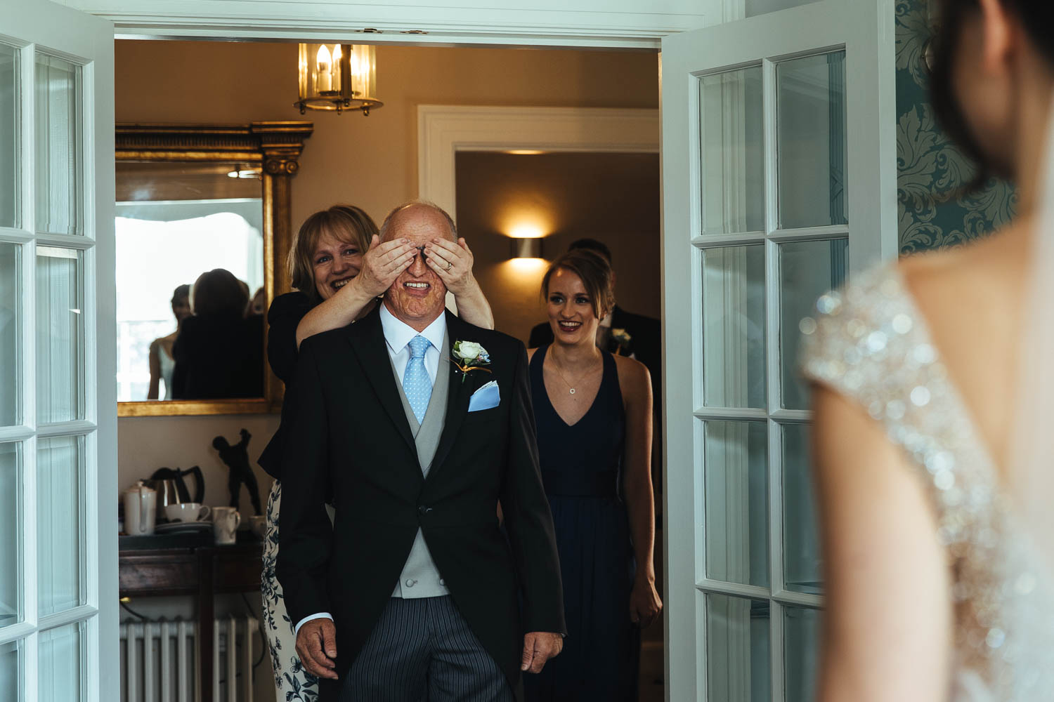 father of the bride sees dress for first time