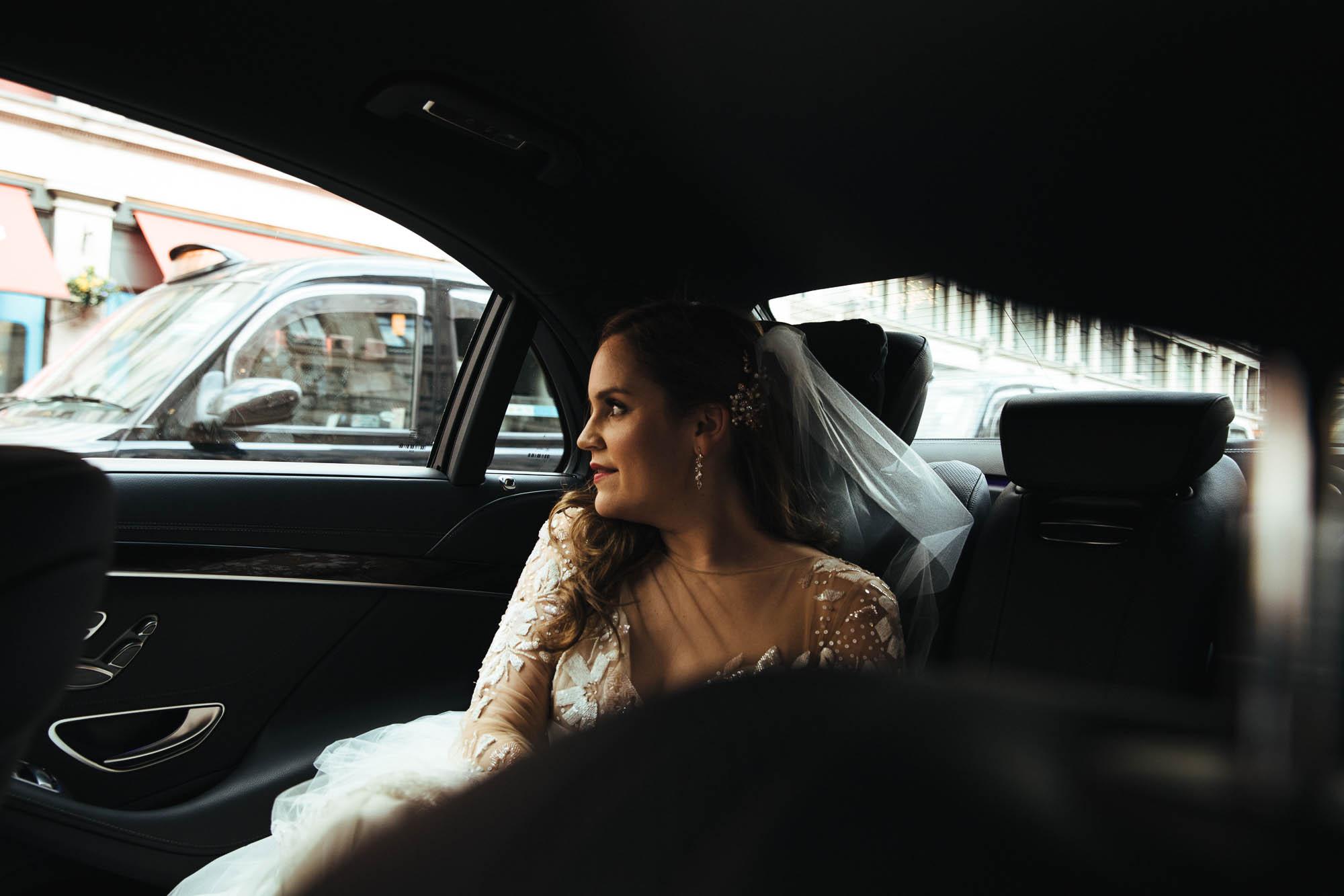 Bride London taxi
