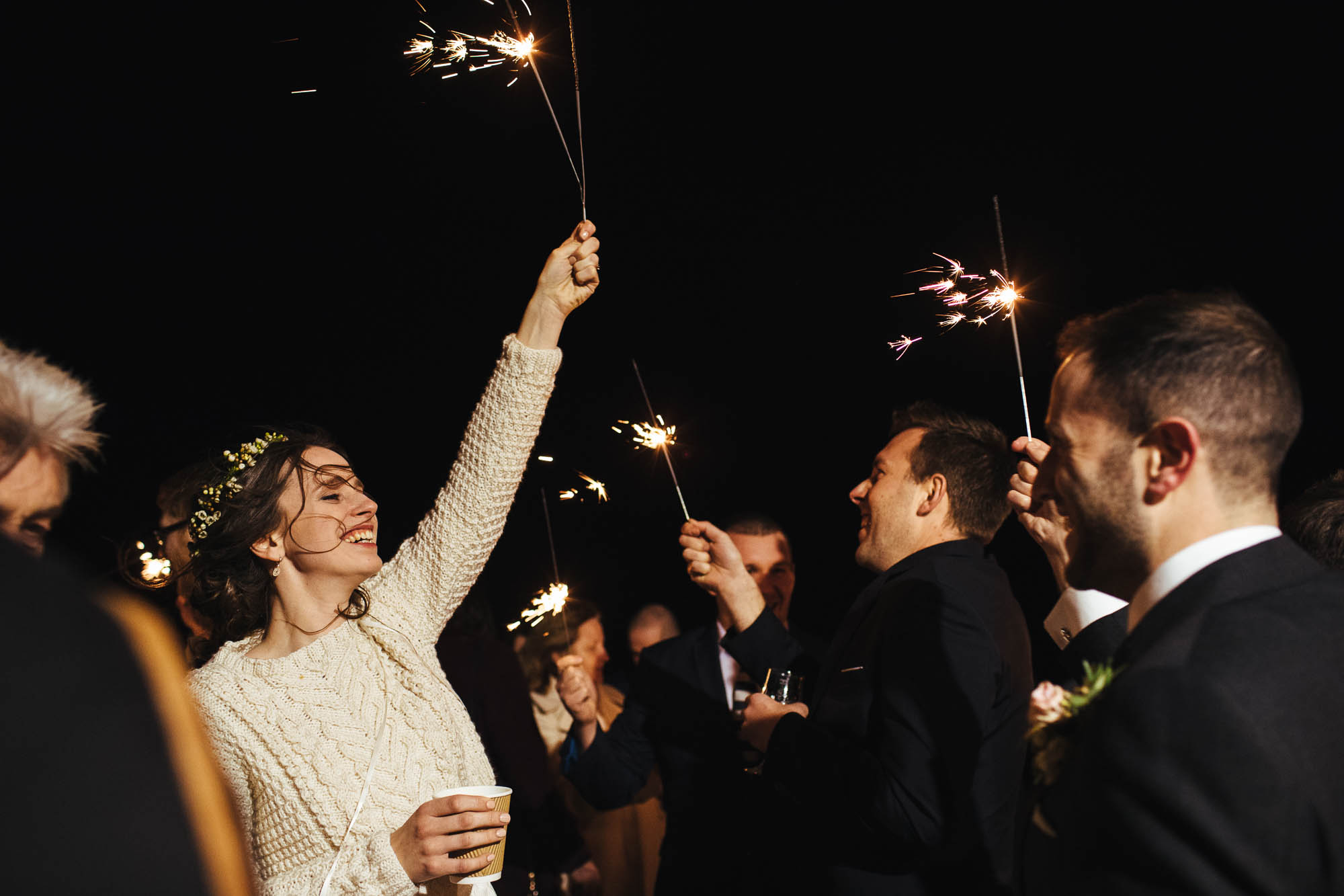 East Quay wedding sparklers