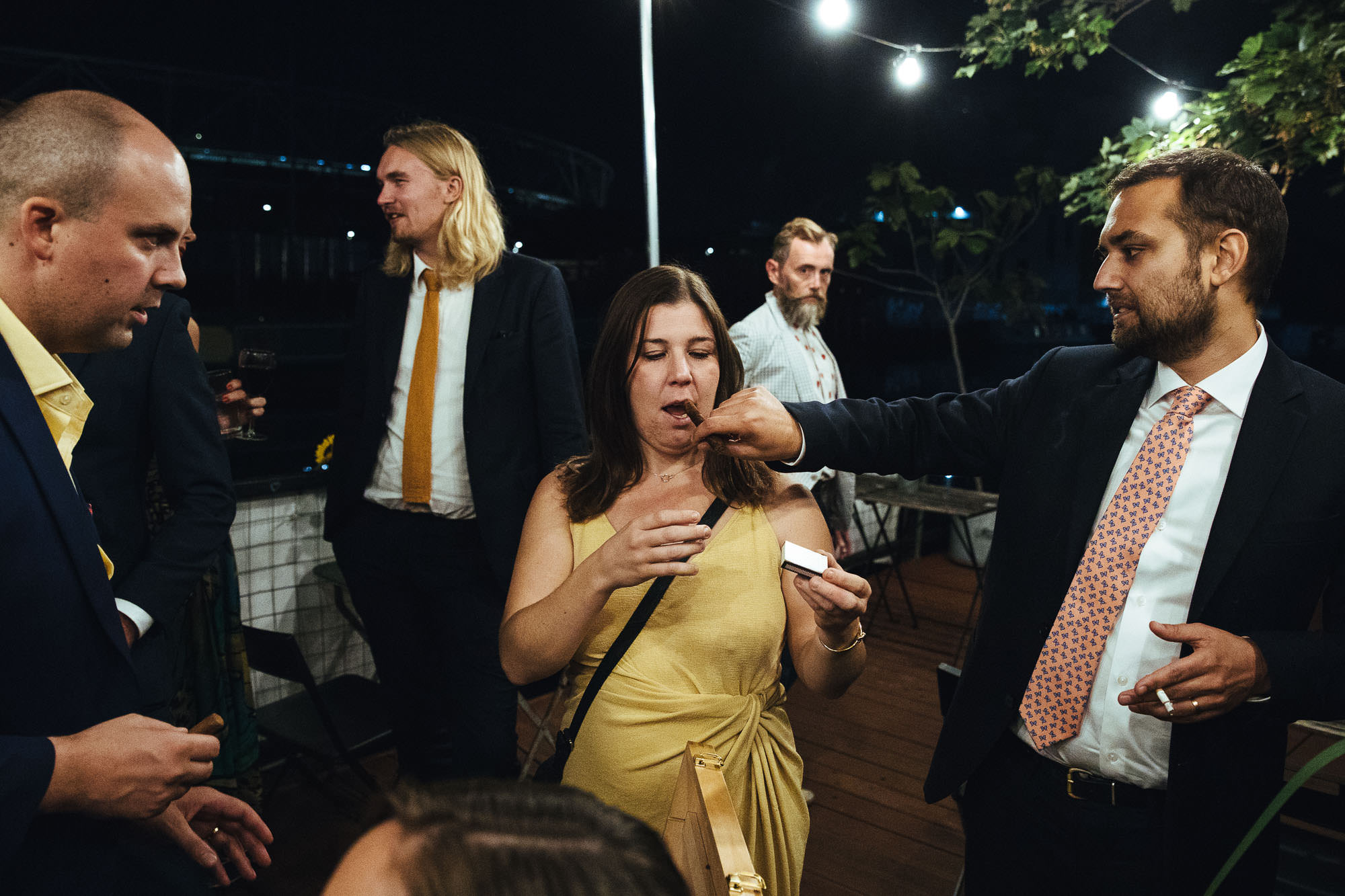 schnapps and cigars at stour space wedding